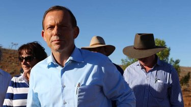 "Mr Abbott at the ""Mount Gipps"" station."