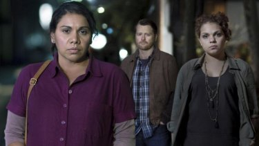 Deborah Mailman as Lorraine, Anthony Hayes as Daryl and Rarriwuy Hick as Robyn in <i>Redfern Now: The Telemovie</i>.