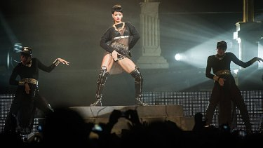 Rihanna kept grabbing her crotch during her performance at Perth Arena.