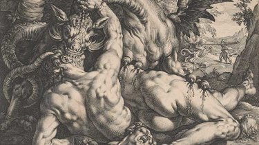 The dragon devouring the companions of Cadmus [detail], 1588, by Hendrick Golzius (Dutch, 1558-1617) after a painting by Cornelis Cornelisz van Haarlem. Engraving.