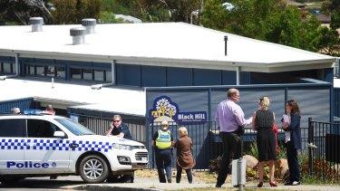 Police at Black Hill Primary School in Ballarat on Thursday.