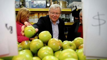 Prime Minister Kevin Rudd stacks the shelves after he delivered fruit to Abu Hussein mixed business in South Granville, Sydney.