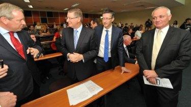 Campaigning: Denis Napthine in Ballarat with Health Minister David Davis, left.