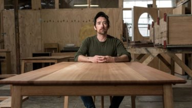 "Furniture maker, sculptor and musician Sime Nugent says his tables are ""classic and mid-century but Australian""."