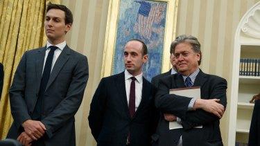 The inner circle: Senior Adviser Jared Kushner, policy adviser Stephen Miller, and chief strategist Steve Bannon.