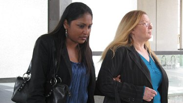 Max Sica's wife Shiv Sica and his mother Anna Sica leave court today.