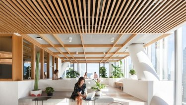 Dropbox's ofice: Lighting levels, access to attractive views such as art, feature installations such as fireplaces, and proximity to windows have been shown to have direct positive physical effects.