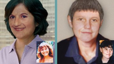 Left: Stella Farrugia how she may look now and inset, when she vanished at 18. Right: Shar Muller in a digitally-aged image as a 45-year-old and inset, when she disappeared aged 25.