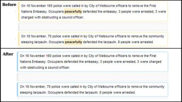These screenshots show paragraphs on the Occupy Melbourne before and after the first edit to the page.