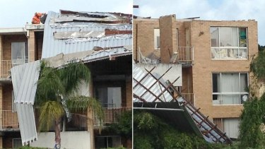 The Canning Highway units were badly damaged in Sunday night's storm.