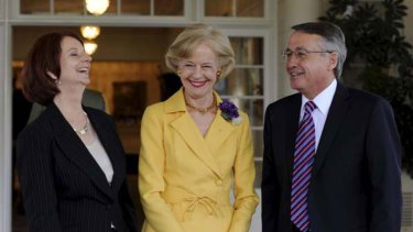 Changing fortunes ... Julia Gillard and Wayne Swan with Governor-General Quentin Bryce at their swearing-in ceremony.
