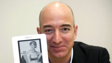 Coming our way ... Amazon CEO Jeff Bezos shows off the Kindle.