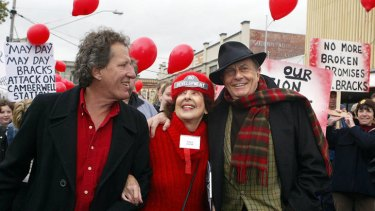 Geoffrey Rush and Barry Humphries protest against the Camberwell development.