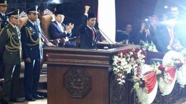 Indonesian President Joko Widodo during his speech at his inauguration ceremony.