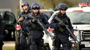 Victoria Police Special Operations Group members outside the Melbourne remand centre during last month's riot.