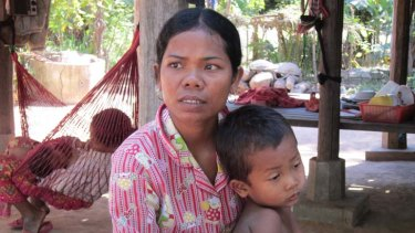 Beaten and robbed … Orn Eak has returned to her village home and her five-year-old son but is still scarred by her mistreatment in Kuala Lumpur and Phnom Penh.