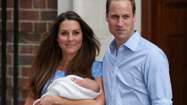The Duke and Duchess of Cambridge outside hospital with baby Prince George.