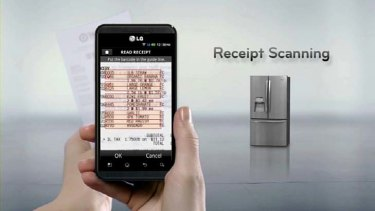 A receipt scanning app in action for an LG fridge.