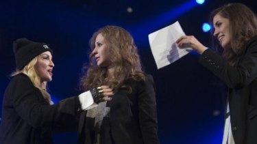 Madonna introduces Pussy Riot members Nadezhda Tolokonnikova, right, and Maria Alyokhina.