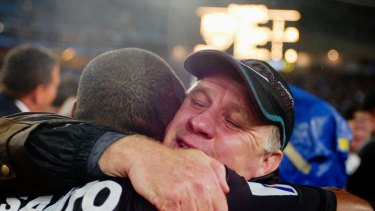 Sweet victory: John Lang, who left Cronulla after the 2001 season, coached Penrith to glory in 2003.