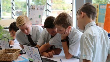 Students brainstorm as part of the Entrepreneurs Club at St Paul's School, Brisbane.
