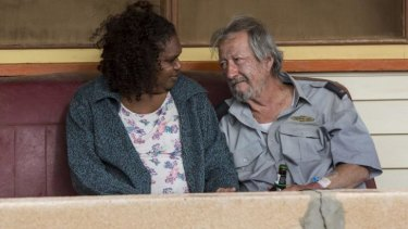 Polly (Ningali Lawford) and Rex (Michael Caton) enjoy an intimate moment in <i>Last Cab to Darwin</i>.