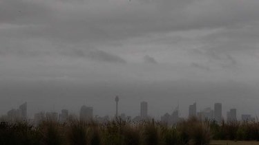 Grey skies ... the view over Sydney CBD from Dover Heights at 7am today.