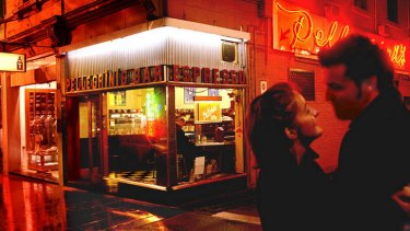 One of Melbourne's iconic Italian restaurants, Pellegrini's, in Bourke Street.