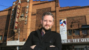 Actor Stephen Curry outside the Astor theatre.