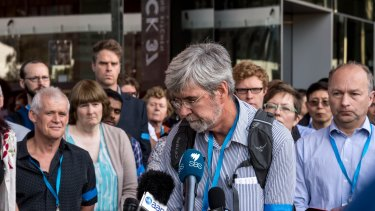 Dr John Church and other climate scientists speaking to the media about proposed cuts to the CSIRO.