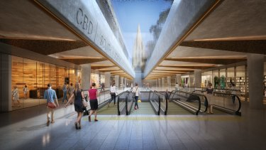 An artist's impression of the plan for CBD South, the underground railway station to be built beneath the City Square.