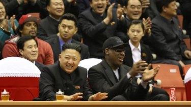 North Korean leader Kim Jong-un and Dennis Rodman  in Pyongyang in February.
