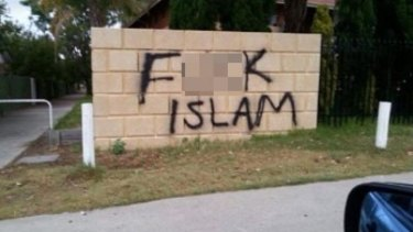 Muslim leaders say this anti-Islam graffiti appeared near a school in Thornlie.