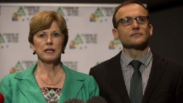 Australian Greens leader Senator Christine Milne with deputy leader Adam Bandt.