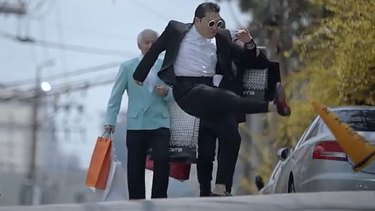 Naughty, naughty ... Psy's <i>Gentleman</i> video considered anti-social due to the South Korea pop star kicking a 'No Parking' cone.