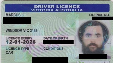 The licence showing Pastafarian Marcus Bowring wearing a spaghetti strainer on his head.