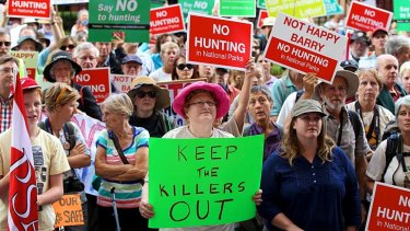 """Only the beginning: About 2500 people rallied against plans to allow hunters to conduct """"pest control"""" in national parks."""