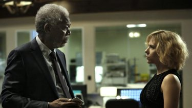 Wisdom on tap: Freeman plays a professor opposite Scarlett Johansson in <i>Lucy</i>, Luc Besson's film about the untapped potential of the brain.