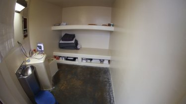 Inside a solitary confinement cell at Pelican Bay prison, California.