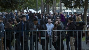 Long lines outside the MCA earlier this week.