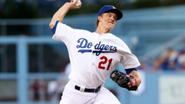 Zack Greinke of the Los Angeles Dodgers pitches earlier this year.