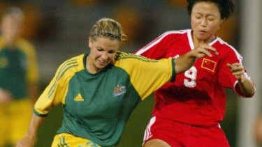 Glory days ... Amy Taylor playing for the Matildas.