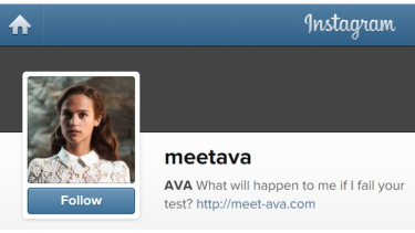 """Tinder users in Austin who swiped right on the profile of """"Ava"""" were directed to an Instagram page promoting the film Ex-Machina."""