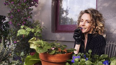 A new take on the old: Permaculture teacher Cecilia Macaulay in her decorative edible garden in a North Melbourne sharehouse