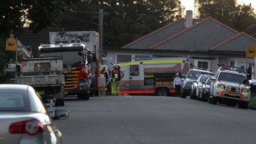 Police and bomb squad at the Mosman house.