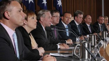 Lara Giddings, second left, at the COAG joint press conference in Canberra, December 2013.