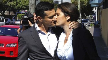 Lost their child ... parents Nathan and Rebecca Elliott leave court today.