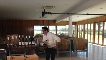 Shooting a scene from <i>Plonk</i> at Clonakilla winery, Canberra.