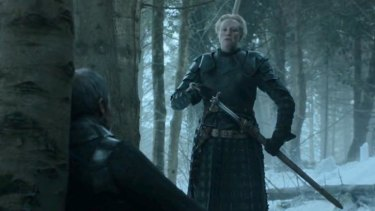 Not looking good ... Brienne of Tarth draws her sword before the defeated Stannis Baratheon at the end of <i>Game of Thrones</i> season 5.