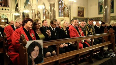 Local dignitaries and relatives seen during a Memorial Service for murdered journalist Jill Meagher at St. Peter's Church on October 5, 2012 in Drogheda, Ireland. Mrs Meagher, 29, from County Louth was murdered after a night out in Melbourne, Australia, last month.